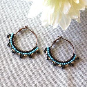 Beaded Copper Hoop Earrings in Turquoise and Peach